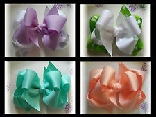6 Hair bows 5 inch Double Layer Lot Boutique Custom to Your Choice Colors/Clip