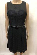 CUE DRESS WOMENS ~ SIZE 10 ~ EXC COND BUSINESS CORPORATE LACE DESIGN W/ BELT INC