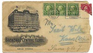 JUDAICA USA BROADWAY HOTEL OLD COVER TO JEWISH J. WOLK IN LITHUANIA KAUNAS 1924