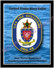 USS The Sullivans DDG 68 Personalized Ship Crest Print on Canvas 2D Effect