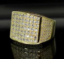 Brilliant Gold Plated Icy Sleek Celeb Bling Hip Hop Mens CZ Rapper Ring- Size 9