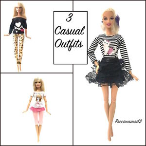 New barbie doll clothes outfit clothing 3 sets pants tops skirt casual summer
