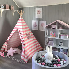 Large Princess Girls Teepee Tent Cotton Canvas Kids Indoor Outdoor Cubby House