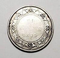 Canada 1873 Newfoundland Silver 50 Cents Half Dollar Coin