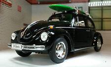 VW Beetle SURF BOARD SURF Welly 1:24 scala pressofusione dettagliato modello 22436sb-w