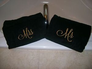 Mr. and Mrs. Embroidered Bath Towels- Wedding Gift, Christmas gift