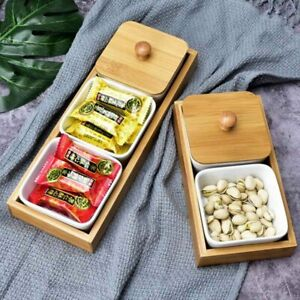 Ceramic Snack Serving Tray Serving Platter with Bamboo Lid and Pallets