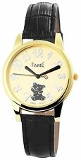 Fame Damenuhr Analog Armbanduhr Lederimitationarmband Farbe Schwarz Uhr Bär  #23