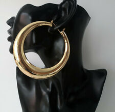 Huge 9cm gold metal shiny plain round creole hoop earrings - Thick  chunky hoops
