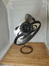 Hat BETMAR NY Millinery Black Up Turned Brim Derby Church Dress Bow Feathers