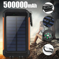 Portable Solar Waterproof 500000mAh Power Bank Battery Charger for Cell Phone US