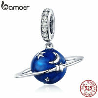 BAMOER S925 Sterling Silver Charm Enamel Blue Planet Dangle &CZ DIY for Bracelet