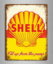 metal sign plaque vintage retro style Shell advert car garage tin 20 x 15cm