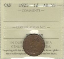 1925 Small Cent ICCS AU-55 * Beautiful RARE George V LOWEST Mintage Canada Penny