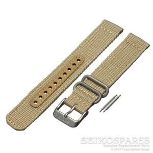 Seiko Watch Strap for 5 SNK803 SNK811 7S26-02J0 18mm Tan Beige Nylon Fabric Band