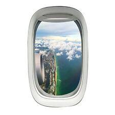VWAQ Commercial Airplane Window Decal Beach Coastline Scene Aviation Decor