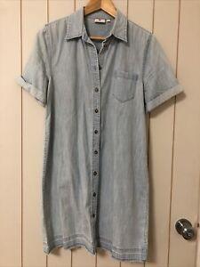 EUC AG Adriano Goldschmied Denim Shirt Dress Light Blue 100% Cotton Size L