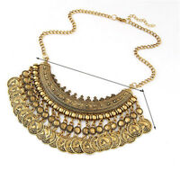 Vintage Gypsy Bohemian Tribal Boho Coin Statement Necklace Pendant Party MA