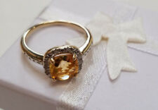 Genuine Citrine & Diamond Gemstone 18k Gold 925 Sterling Silver Ring  NEW Size 8