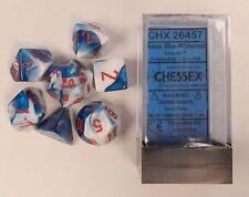 Set 7 dadi Chessex GEMINI ASTRAL BLUE red 26457 Dice Blu Astrale rosso
