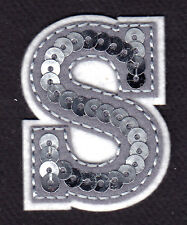 """LETTERS  - Silver  Sequin  2"""" Letter """"S"""" - Iron On Embroidered Applique"""