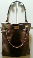 "Marciano NWT Patent Leather Purse Bag Gold Metal Accents Satin Lining 16""x12"""