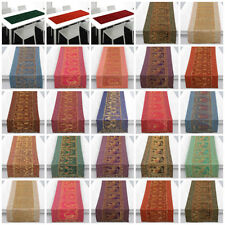 Indian Silk Table Runner Mate Cover Brocade Handmade Table Tapestry Tablecloth