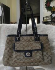 Coach 19043 Signature Penelope Khaki/Navy Sateen Purse Shoulder Bag New NWOT