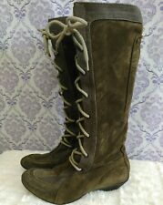 Puma Nuala Boots Womens 6 EUR 36 Knee High Lace Up Khaki Green Suede Italy