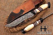 HUNTEX Custom Handmade Damascus Steel 13 Inch Long Full Tang Hunting Bowie Knife