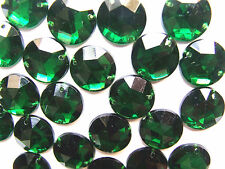 30 Green Faceted Beads Acrylic Rhinestones/Gems 15 mm Round Flat Back Sew On