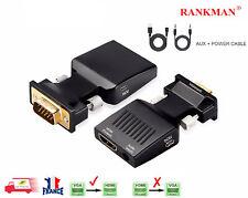 VGA vers HDMI Convertisseur Adaptateur avec Audio, HD 1080P