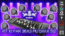 BUNDLE 10 STUCK PAR WASH RGB LED AIR COOLED 36X3 WATT + DMX 512 LICHT MIXER