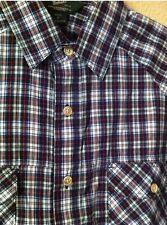 Nwt New Mens Woolrich Short Sleeve Button Up Blue Plaid Shirt Sz M Medium $59.00