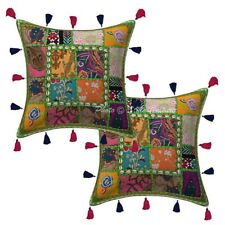 "Cotton Rural India Patchwork Kodi Tassels Pillow Cases 16"" Indian Cushion Cover"
