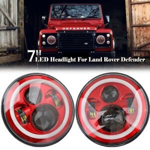 2x 7'' LED Hi-Lo Headlight Round Halo Angle Eyes Red/White For Wrangler JEEP JK