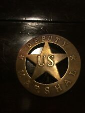 Old Style Deputy US Marshal Badge Antique Vintage Brass Finish NR Tombstone West