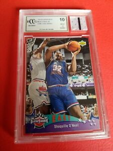 SHAQUILLE O'NEAL JERSEY PIECE & 1992-93 UPPER DECK RC CARD GRADED BCCG 10 MINT+