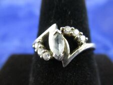 Vintage Sterling Silver White Crystal Elongated Oval Ring      Size 7.75