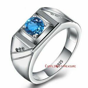 Natural Blue Topaz  & CZ Gemstones With 925 Sterling Silver  Ring For Men's
