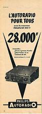 PUBLICITE ADVERTISING   1955   PHILIPS    autoradio NF 344V