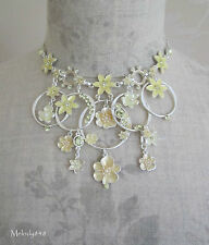 Vintage Andersen PILGRIM Necklace ENCHANTED FLOWER Lily Pale Yellow/Silver BNWT