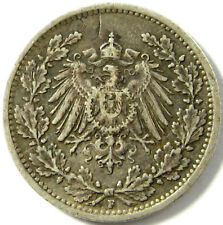 1917-F  German Empire  1/2 Mark  Km# 17  Silver  A Very Nice Coin