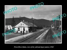 OLD LARGE HISTORIC PHOTO OF PRIEST RIVER IDAHO THE RAILROAD DEPOT STATION c1940