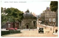 Antique printed postcard Royal Pump Room Harrogate figures and cars
