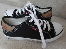 Levi's Strauss Kids Black Canvas Stan Buck Lo Top Sneakers Size 3
