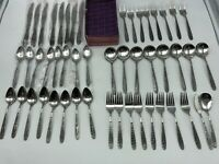 50 pieces6 pieces x (8) + 2 National Stainless Steel Flatware Narcissus, Korea