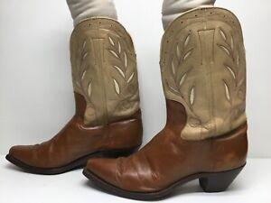 VTG MENS UNBRANDED SNIP TOE COWBOY BROWN BOOTS SIZE 9