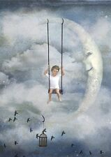 "oil painting handpainted on canvas ""The boy who is swinging ,birds,moon""NO409"