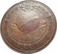 1894 BELGIUM Antwerp King Leopold II with Globe World Exhibition Medal i80587